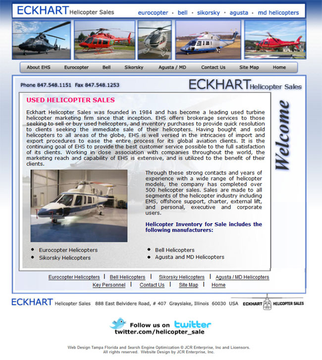 Tampa Website Design by JCR Enteprise Inc for a Helicopter Sales Company with Natural Search Engine Optimization shows numerous helicopters from Bell, Eurocopter, Sikorsky, and Agusta